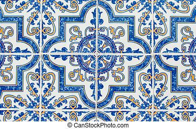 Portuguese glazed tiles 233 - Detail of Portuguese glazed...