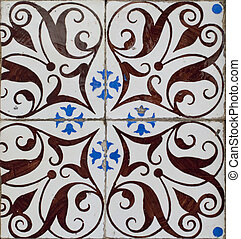 Portuguese glazed tiles - Detail of Portuguese glazed tiles....
