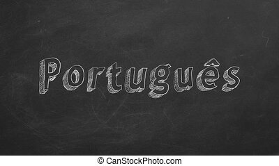 """Portuguese learning concept - Hand drawing """"Portugues"""" on..."""