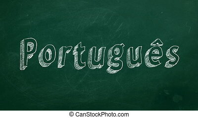 """Portuguese learning concept - """"Portugues"""" word drawn in..."""