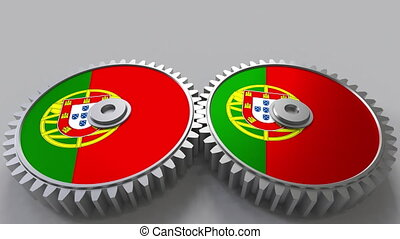 Portuguese national project. Flags of Portugal on moving cogwheels. Conceptual animation