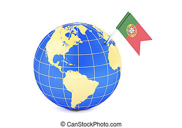 Portuguese pin flag on globe map, 3D rendering