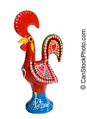 ceramic rooster symbol of portugal, handmade traditional statuette