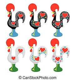 Portuguese Rooster of Barcelos - Vector icons set of...