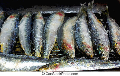 Portuguese sardines . - Portuguese sardines on grill.