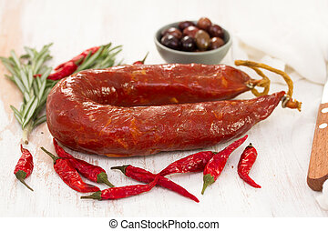portuguese sausage on white background