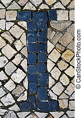 Portuguese sidewalk of calcada in the form of the letter I, Lisb