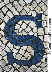 Portuguese sidewalk of calcada in the form of the letter S
