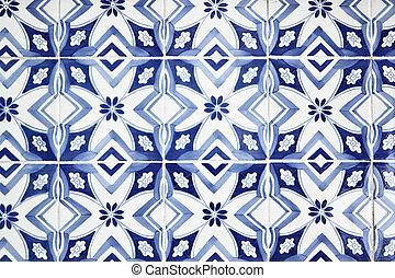 Portuguese tiles (azulejos) close-up