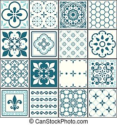 Floral and abstract shapes texture set, repetitive tile illustration inspired by traditional art from Portugal and Spain
