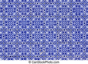 Portuguese tiles - Old tiled Background - portuguese...