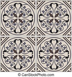 Portuguese tiles seamless pattern. Vintage background - ceramic tile in vector