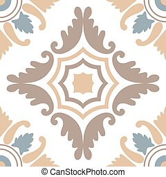 Portuguese tiles seamless pattern. Vintage background - Victorian ceramic tile in vector