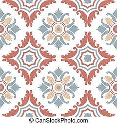 Portuguese tiles, seamless pattern. Vintage background - Victorian ceramic tile in vector