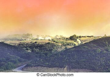 Portuguese village in morning mist