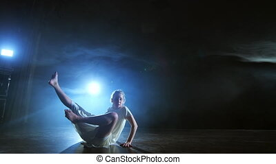 porusza się, nowoczesny, rusztowanie, choreografia, dym, ...