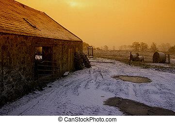 poruszenie, śnieg, zmierzch