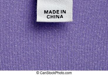 porzellan, kleidung, gemacht, billig, etikett