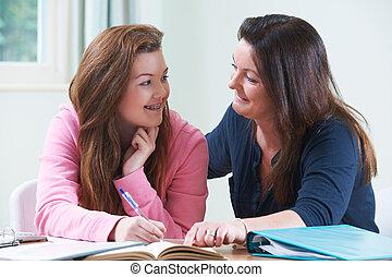 porzione, adolescente, figlia, compito, madre