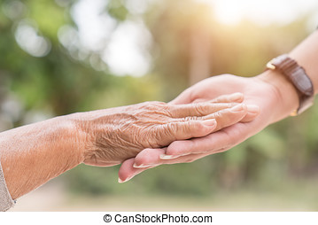 porzione, concetto, mani, cura anziana