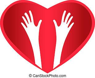 porzione, cuore, mani