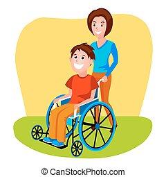 porzione, donna, carrozzella, invalido, persona, vettore
