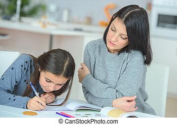 porzione, donna, figlia, compito