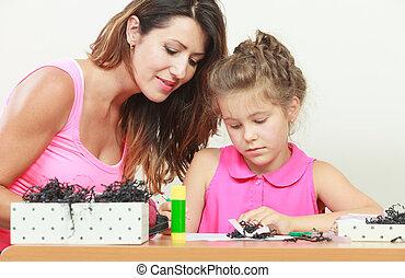 porzione, figlia, mamma, compito