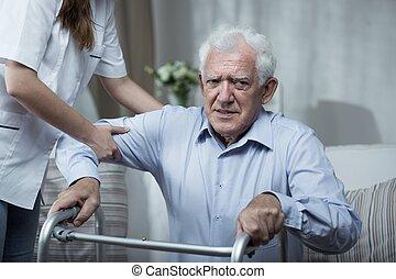 porzione, fisioterapista, anziano, uomo disabled