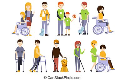 porzione, handicappato, vettore, cieco, set, persone, loro, illustrazione, sordo, invalido, ferito, amici, persone