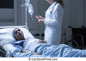 porzione, infermiera, donna, moribondo