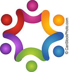 porzione, logotipo, lavoro squadra