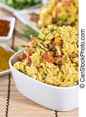 porzione, riso,  curry