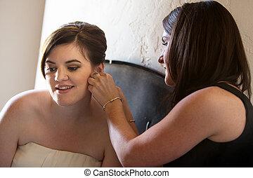 porzione, sposa, donna, orecchini