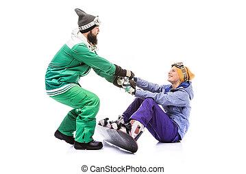porzione, su, amica, snowboarder, ottenere