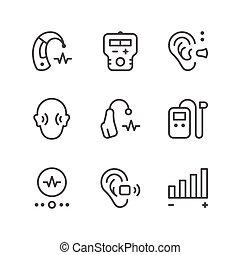 posłuch wspomożenie, kreska, komplet, ikony