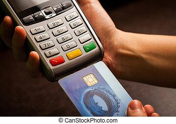pos, 以及, 信用卡