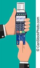 pos, bank, terminal., wpłata, device., nowoczesny