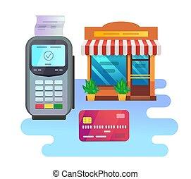 pos, karta, terminal, kredyt, gmach, sklep