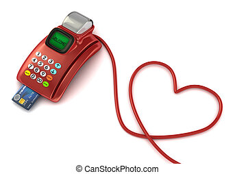 pos machine with heart symbol