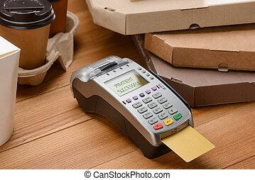 pos, scheda, inserito, credito, terminale, caffè, pagamento, pizza.