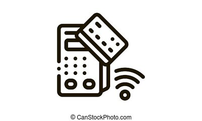 pos terminal and pay pass card Icon Animation. black pos terminal and pay pass card animated icon on white background