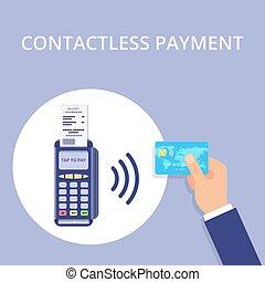Pos terminal confirms contactless payment from credit card....