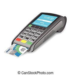 pos, terminal, crédit, fond, blanc, carte