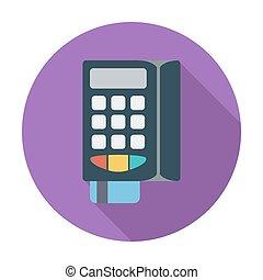 POS terminal. Single flat color icon. Vector illustration.
