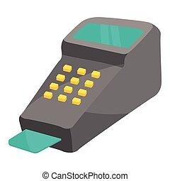 POS terminal icon, cartoon style