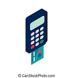 POS terminal icon, isometric 3d style