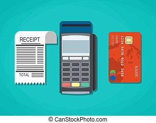 pos terminal, paper receipt and debit credit bank card....