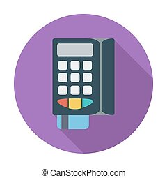 POS terminal. Single flat color icon. Vector illustration.