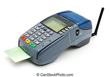 Modern POS terminal with credit card inserted